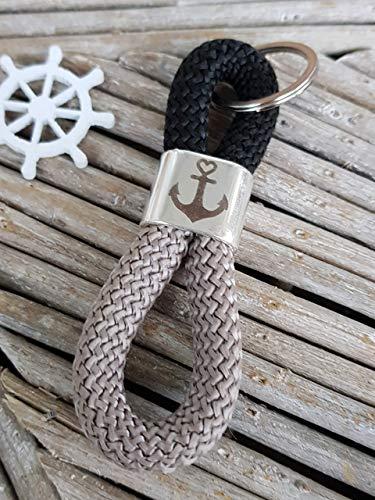Schlüsselanhänger Segelseil, Schlüsselband, Glaube Liebe Hoffnung Anker maritim segelseil, handmade, Taschenbaumler,
