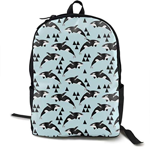 zhengchunleiX Travel Daypacks,Casual Rucksack,Sports Book Bags,Orca Whale Ocean Pastel Blue Unique Backpack Durable Oxford Outdoor College Students Busines Laptop Computer Shoulder Bags