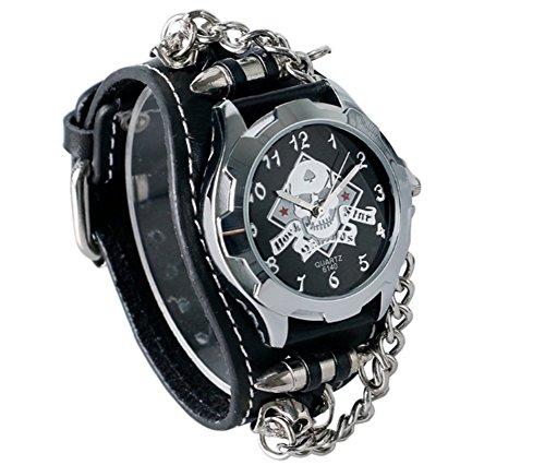 Abaobao - Reloj de motero con diseño de calavera y correa de piel