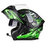 Casco Moto Modular Hombre con Bluetooth Integrado Anti Niebla Visera Doble, ECE/Dot Homologado Cascos Integrales Moto para Hombre y Mujer M~XXXL