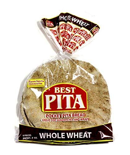 Best Pita, Authentic Hearth Baked Whole Wheat Pocket Pita Bread, Naturally Vegan, Certified Kosher, Cholesterol Free, 8oz. (12 Bags)