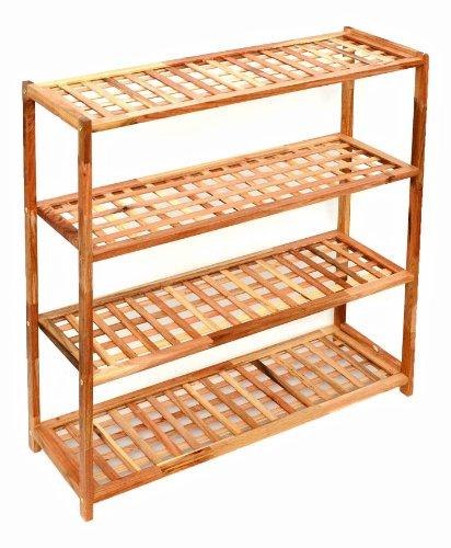 ts-ideen Schuhschrank Badregal Küchenregal Kinderregal Flur Standregal Massivholz Regal Handtuchhalter mit 4 Ablageflächen aus Walnuss Holz