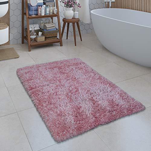 Paco Home Moderne Badematte Badezimmer Teppich Shaggy Kuschelig Weich Einfarbig Pink, Grösse:50x80 cm