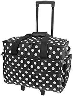 Bolsa de deporte con ruedas para máquina de coser de abedul 51 x 38 x 28 cm - negro/puntos blancos