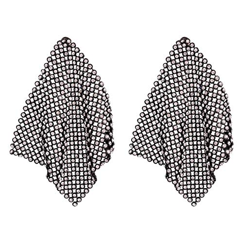 Pendientes largos de cristal dorado con forma de gota, diamantes de imitación punk, cuadrados geométricos de metal, joyería para mujer, accesorios, negro