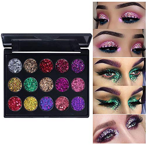 Pro Glitter Eyeshadow Palette,Chunky & Fine Pressed Glitter Eye Shadow Powder Makeup Pallet Palettes Mermaid Small Sequins Highly Pigmented Ultra Shimmer Shiny Sparkling for Face Body Performance