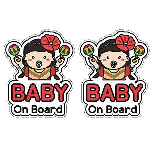 GEEKBEAR Baby on Board Sticker and Decal (Hispanic Girl, 2 Pack) - Baby Bumper Car Sticker - Baby Window Car Sticker - Baby in Car Sticker - Cute Safety Caution Decal Sign for Cars
