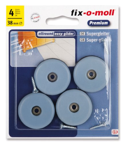 fix-o-moll 3566127 - Set di pattini slittanti per spostare mobili, adesivi, 38 mm, 4 pz.
