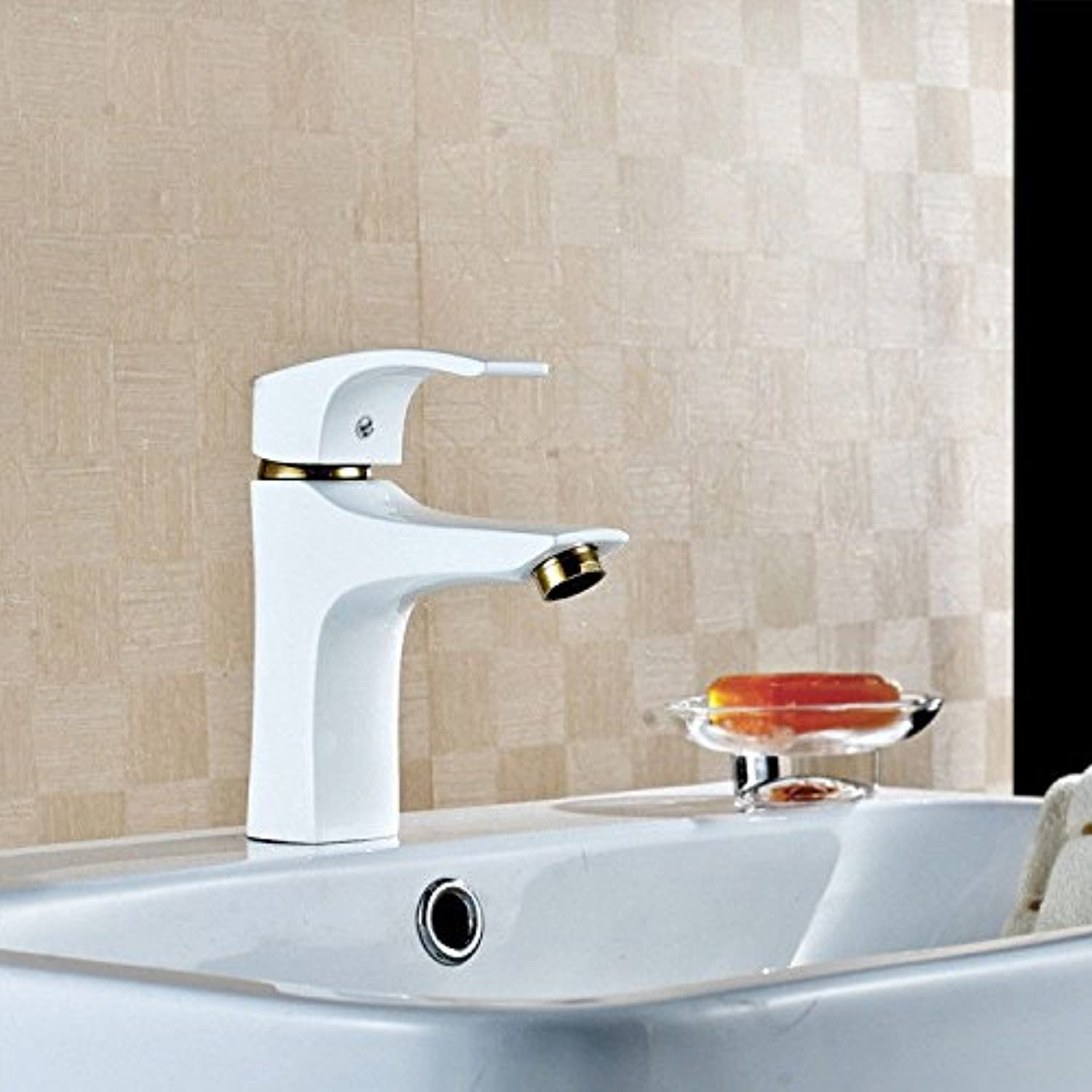 AQMMi Bathroom Sink Faucet Basin Mixer Tap Brass White Basin Sink Tap Bathroom Bar Faucet