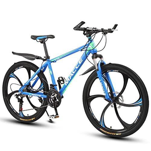 PBTRM Bicicleta Montaña BTT 26 Pulgadas 27 Velocidades, Frenos Disco, para Adolescentes/Adultos, Azul