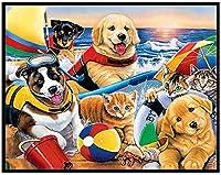 大人のためのDIY5Dダイヤモンド絵画キットフルドリル刺繡絵画ラインストーン貼り付けクロスステッチ芸術工芸品家の壁の装飾40X50CM犬がビーチで遊ぶ