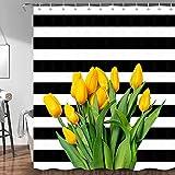 JAWO Tulip Floral Shower Curtain, Fresh Cut Yellow Tulip Flower Black and White Stripe Fabric Bathroom Curtain, Spring Bath Decor Set with Hooks, 72X72