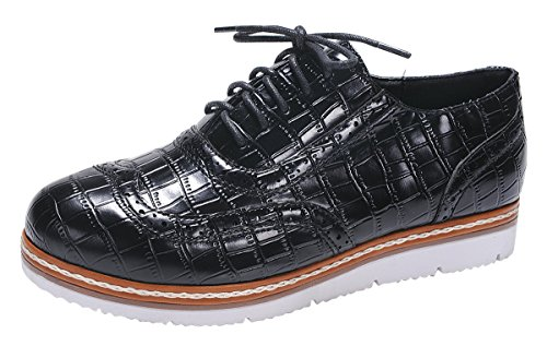 Nature Breeze Women's Wingtip Lace-Up Croc Embossed Flatform Oxford Shoe,8.5 B(M) US,Black
