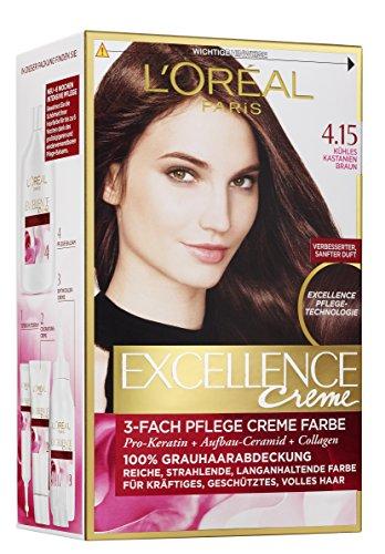 L'Oréal Paris Excellence 4.15 Kühles Kastanienbraun, 3er Pack (3 x 1 Stück)