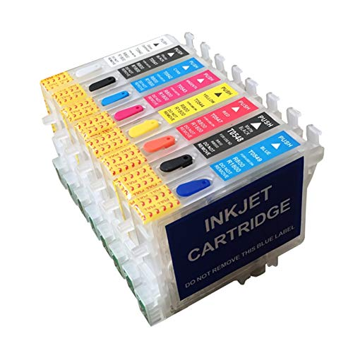 WSCHENG 8 Colores T0540-T0549 Cartuchos de Tinta Recargables con Chips de reinicio automático para Epson Stylus Photo R800 R1800 con Chips permanentes