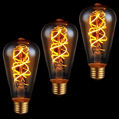 proventa 3x Edison Filament-Birne, dimmbar, E27, 5 Watt, Doppelwendel, 2.200 K, Bernstein, Form ST64, LED-Leuchtmittel, Dekolampe, Vintage, Retro