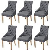 Festnight 6er-Set Esszimmerstuhl Essstuhl Eichenholzbeine Küchenstühle Esszimmerstühle Stuhlset...