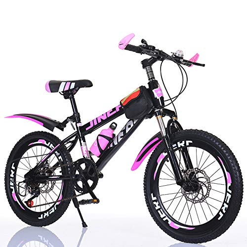 Mountain Bike for Adult, 24 Inch 7 Speed 30 Spoke Mountain Bike with Dual Disc Brake, Dual Suspension, High Carbon Steel Frame Anti-Slip Bicycles,Pink
