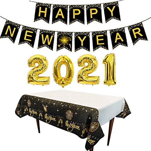 2021 Shape Happy New Year Holiday Decoration Set Aluminum Film Balloon Alphabet Banner Tablecloth Set (Black Gold, One Size)