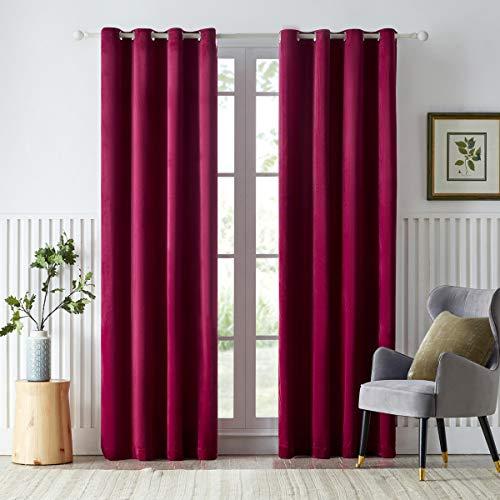 GIGIZAZA Thermovorhang aus Samt, verdunkelnd, für Wohnzimmer, 213,4 cm lang, mit Ösen, verdunkelnd, 2 Paneele