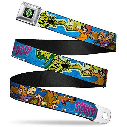 Buckle-Down Gürtel SD Dog Tag Full Color Black/Yellow/Blue Seatbelt Belt-Scooby DOO INC. Group w/Slime Mutant X-Large Webbing Grtel, Mehrfarbig, 4 cm Breit / 81/132 cm Länge