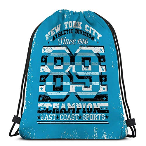 Lsjuee Casual Drawstring Bag Lightweight for Men and Women New York Typography NYC Graphic Printing Man Original Clothing Emblem