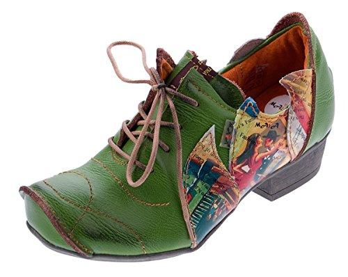 TMA Leder Damen Halbschuhe Schnürer Grün Comfort Schuhe echt Leder Pumps 8088 Gr. 38