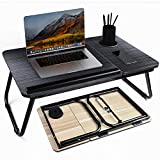 Laptop Desk, Bed Tray Table with Cup Holder, Portable Home Working Lap Desk, Angle Adjustable Laptop Stand, Multi Tasking Folding Computer Desk for Sofa Couch Floor, Writing Eating Reading Surfing