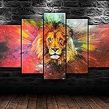 5 Piezas de Lienzo de Arte de Pared Personajes de la película de Wild Lion Galaxy Cuadros de Lienzo Moderno Giclée para decoración del hogar (tamaño Grande 150 x 80 cm)