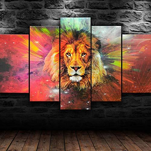 Decoracion Salon 5 Piezas de Arte Marco,Moderno HD sobre lienzos impresión Cuadro Usado para Hogar Oficina Regalo,Wild Lion Galaxy,Tamaño Total: (H-80cm x M/B-150 cm)