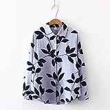 A-HXTM Camisa de algodón de Primavera Blusas de Mujer Blusa de Hojas Camisa de Manga Larga Tops Femeninos Camisa de Moda Se Aplica al Trabajo de Negocios o al Uso Diario etc.-Azul-Gris_M