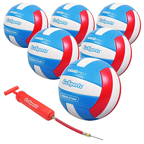 GoSports Soft Touch Recreational Volleyball - Regulation Size for Indoor or Outdoor Play - Includes Ball Pump - Choose Between Single or 6 Pack Visit the GoSports Store