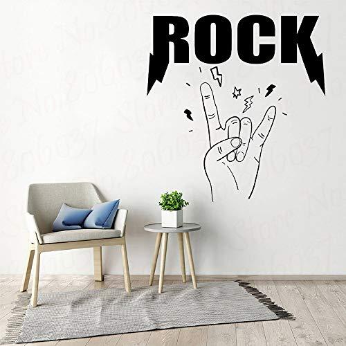 Rockmuziek citaat muur sticker sticker kamer slaapkamer kunst vinyl decoratie tiener band metalen kinderen gitaar zingen drum bas behang 50.4x52.8cm