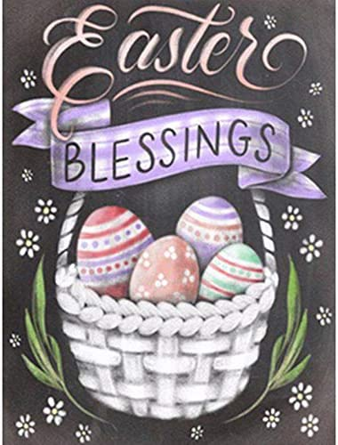 BeAhity 2 Set Full Drill Easter DIY Diamond Painting Kits,Happy Easter Rabbit Eggs and Cross Heart Art Painting Spring Easter Bunny Home Decor,7.9x9.8 Inches