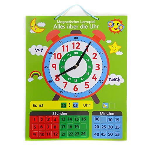 Lern-Spiel Uhr magnetisch I zum aufhängen mit drehbaren Zeigern und 40 Magneten I Lernuhr Kinderzimmer I dv_716