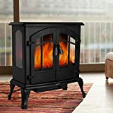femor 25' Electric Fireplace, Adjustable 3D Realistic Flame Effect & Temperature, Portable 1400W Indoor Space Freestanding Heater with Overheating Safety Protection