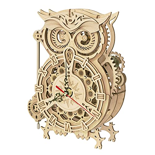 ROBOTIME 3D Wooden Puzzle Owl Alarm Clock Model Kits for Adults to Build Your...