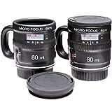 2 Tasses à café expresso isothermes Micro Focus Noir Avec couvercle Design zoom objectif appareil...