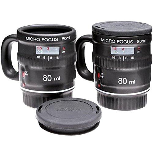 Micro Focus Camera Lens Espresso Mug Set -- Includes 2 Espresso Mugs by NuOp Design