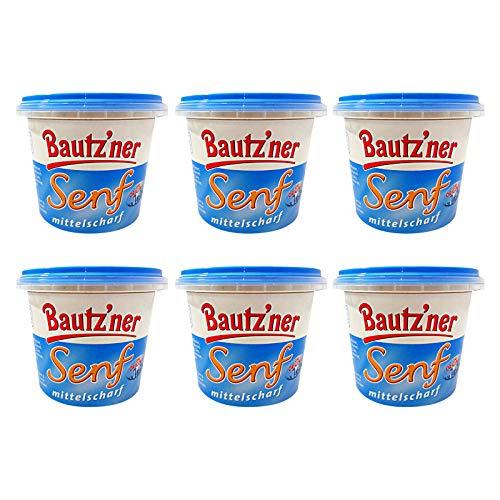 6er Pack Bautzner Senf mittelscharf im Becher (6 x 200 ml) Senfbecher, Bautzner Spezialitäten