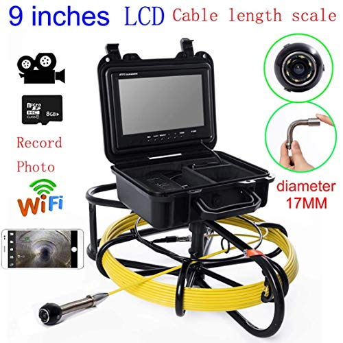 Great Features Of Mieg 9 inch WiFi 17mm Iron Frame Industrial Pipe Sewer Detection Camera IP68 Water...