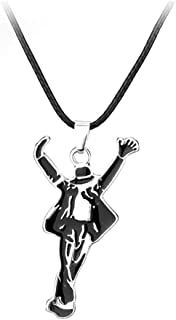 BulingVV 925 Sterling Siver Plated Dancing King Michael Jackson Charm Pendant Necklace,Black Leather Chain