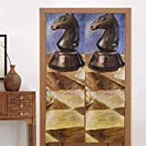 ZHANGhome 86 x 143 cm (34 x 56 Zoll) Blackout Küchenvorhänge Schachbrett mit Schachfiguren auf schwarzer Tür Vorhangdekoration Noren Fenstervorhang Langer Typ für Wohnküchentürdekoration