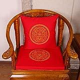 GGYDD Chinesisch Stickerei Stuhlkissen,sitzpolster,Schwamm Überfüllte Sitzkissen Quadratische Atmungsaktiv Kein Wurfkissen-Rotwein 43x48cm(17x19inch)