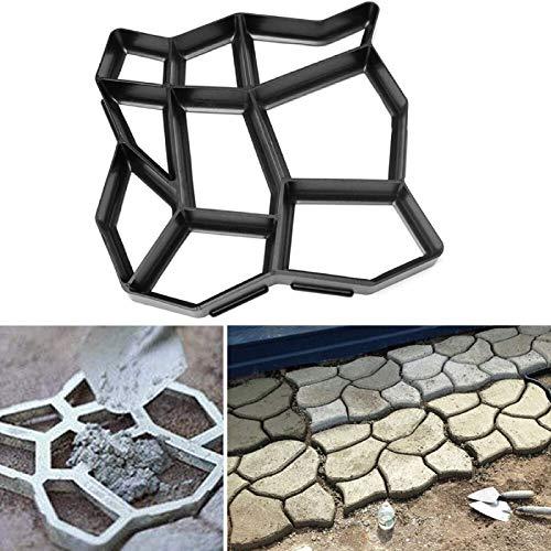 Molde de plástico para hacer caminos, 60 x 50 cm, para jardín, para hacer caminos, piedra, pavimentación, ladrillo, cemento, pavimentación, etc.