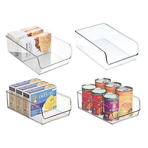 mDesign Contenitori Frigo e Organizer Cucina - Set da 4 Scatole Plastica da usare nel frigorifero o nell'armadio della cucina - Robuste e resistenti - Colore: trasparente