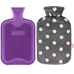 powerful HomeTop Premium Classic Rubber Bottle, Hot or Cold Water, Soft Fleece Lid (2 liters,…
