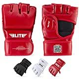 MMA UFC Gloves for Men, Women, and Kids, Elite Sports Best Mixed Martial Arts Sparring Training Grappling Fighting Gloves (White on Red, LXL)