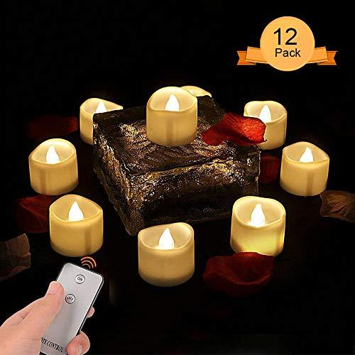 Weihnachtsdeko Teelichter LED mit Fernbedienung,Teelichter Elektrisch Flammenlose LED Kerzen Outdoor Flackernde Flamme Kerze Batterie für Weihnachten Hochzeit Geburtstags Party [12 Stück, Warm-weiß]
