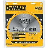 DEWALT 10-Inch Miter / Table Saw Blade, ATB, Thin Kerf, 5/8-Inch Arbor, 24-Tooth (DW3112)